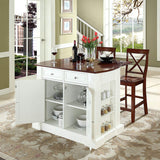 Crosley Furniture Drop Leaf Kitchen Island/Breakfast Bar with 24-inch X-Back Stools - White/Classic Cherry