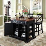 Crosley Furniture Drop Leaf Kitchen Island/Breakfast Bar with 24-inch X-Back Stools - Black
