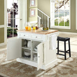 Crosley Furniture Kitchen Island with Butcher Block Top and 24-inch Upholstered Saddle Stools - White/Black