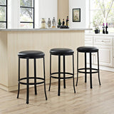 Crosley Furniture CF520330BK-BK Windsor Bar Stool, 30-inch - Black with Black Cushion