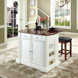 Crosley Furniture Drop Leaf Kitchen Island/Breakfast Bar with 24-inch Upholstered Square Seat Stools - White/Classic Cherry