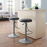 Crosley Furniture CF521126PL-BK Jasper Backless Swivel Counter Stool, 26-inch - Platinum with Black Cushion