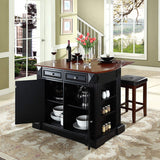 Crosley Furniture Drop Leaf Kitchen Island/Breakfast Bar with 24-inch Upholstered Square Seat Stools - Black