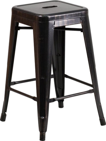 Flash Furniture CH-31320-24-BQ-GG 24'' High Backless Black-Antique Gold Metal Indoor-Outdoor Counter Height Stool with Square Seat - Peazz.com