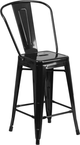 Flash Furniture CH-31320-24GB-BK-GG 24'' High Black Metal Indoor-Outdoor Counter Height Stool with Back - Peazz.com - 1