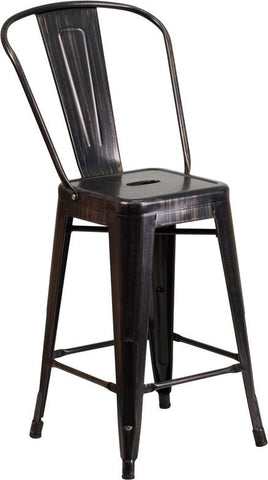 Flash Furniture CH-31320-24GB-BQ-GG 24'' High Black-Antique Gold Metal Indoor-Outdoor Counter Height Stool with Back - Peazz.com - 1