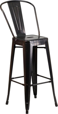 Flash Furniture CH-31320-30GB-BQ-GG 30'' High Black-Antique Gold Metal Indoor-Outdoor Barstool with Back - Peazz.com - 1