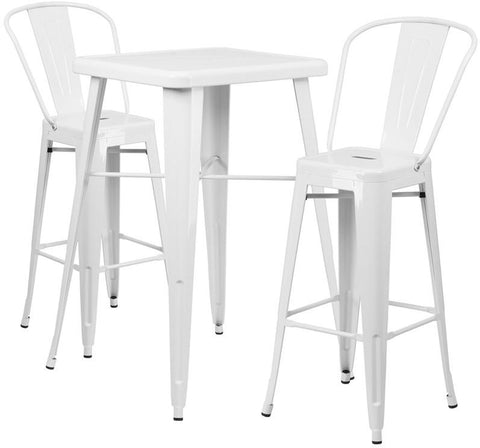 Flash Furniture CH-31330B-2-30GB-WH-GG 23.75'' Square White Metal Indoor-Outdoor Bar Table Set with 2 Barstools - Peazz.com