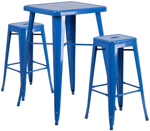 Flash Furniture CH-31330B-2-30SQ-BL-GG 23.75'' Square Blue Metal Indoor-Outdoor Bar Table Set with 2 Backless Barstools - Peazz.com