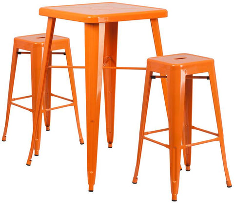 Flash Furniture CH-31330B-2-30SQ-OR-GG 23.75'' Square Orange Metal Indoor-Outdoor Bar Table Set with 2 Backless Barstools - Peazz.com