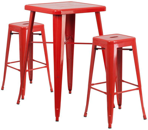 Flash Furniture CH-31330B-2-30SQ-RED-GG 23.75'' Square Red Metal Indoor-Outdoor Bar Table Set with 2 Backless Barstools - Peazz.com
