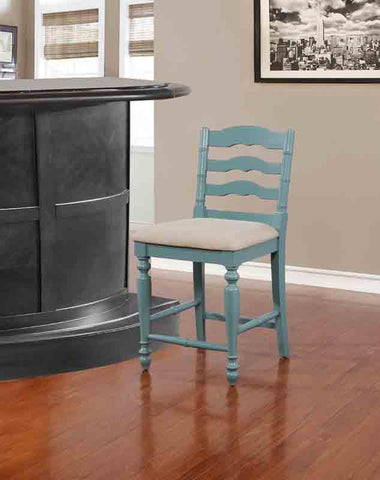 Linon CS002BLU01U Melva Antique Blue Counter Stool