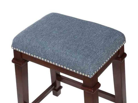 Linon CS093BLU01U Kyley Denim Blue Tweed Backless Counter Stool