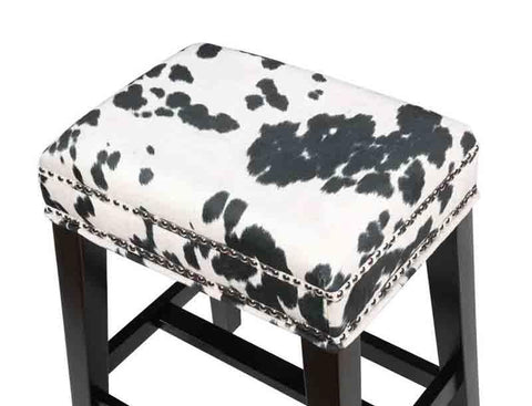 Linon CS098COW01U Walt Black Cow Print Counter Stool