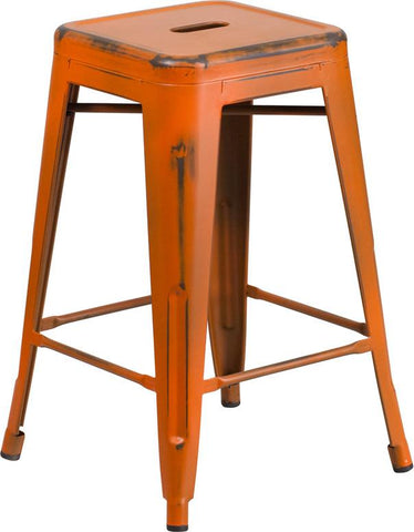 Flash Furniture ET-BT3503-24-OR-GG 24'' High Backless Distressed Orange Metal Indoor Counter Height Stool - Peazz.com