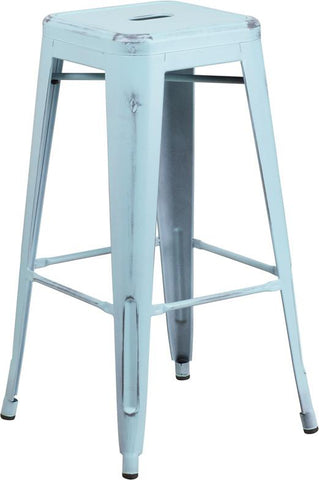 Flash Furniture ET-BT3503-30-DB-GG 30'' High Backless Distressed Dream Blue Metal Indoor Barstool - Peazz.com