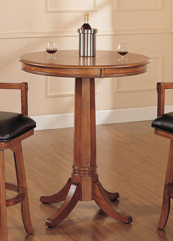 Hillsdale Park View 34 Inch Round Bar Height Table in Medium Brown Oak (4186PTB)