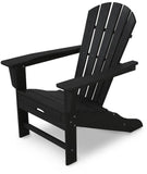Polywood HNA15BL Palm Coast Ultimate Adirondack with Hideaway Ottoman Black Finish - PolyFurnitureStore - 3