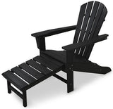 Polywood HNA15BL Palm Coast Ultimate Adirondack with Hideaway Ottoman Black Finish - PolyFurnitureStore - 1