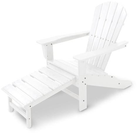 Polywood HNA15WH Palm Coast Ultimate Adirondack with Hideaway Ottoman White Finish - PolyFurnitureStore - 1