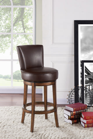 "Armen Living LC4044BAKA30 Boston 30"" Bar Height Swivel Wood Barstool in Chestnut Finish and Kahlua Faux Leather"