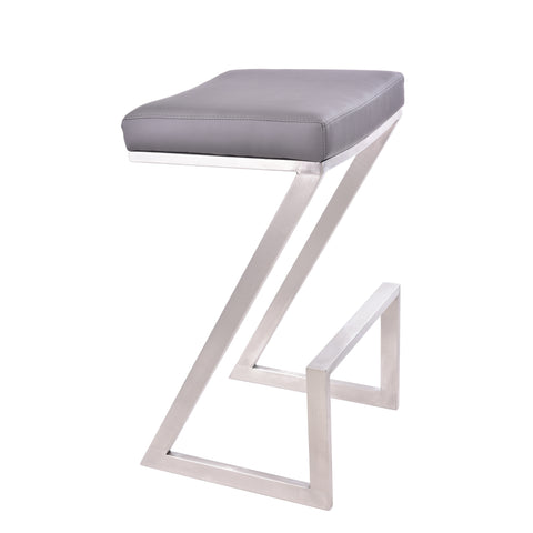 "Armen Living LCAT26BAGR Atlantis 26"" Counter Height Backless Barstool in Brushed Stainless Steel finish with Grey Faux Leather"