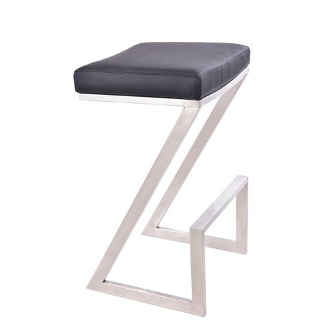 "Armen Living LCAT30BABLK Atlantis 30"" Bar Height Backless Barstool in Brushed Stainless Steel finish with Black Faux Leather"