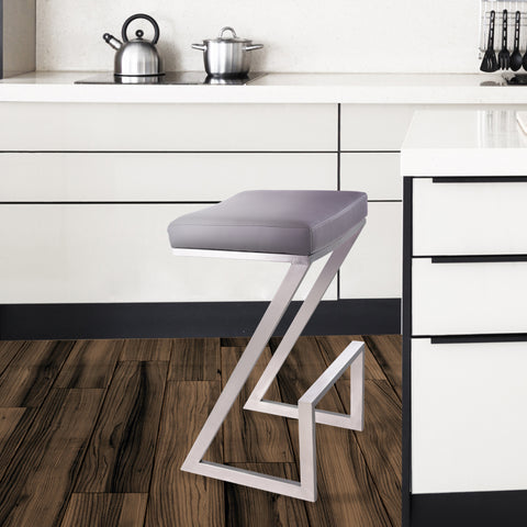 "Armen Living LCAT30BAGR Atlantis 30"" Bar Height Backless Barstool in Brushed Stainless Steel finish with Grey Faux Leather"