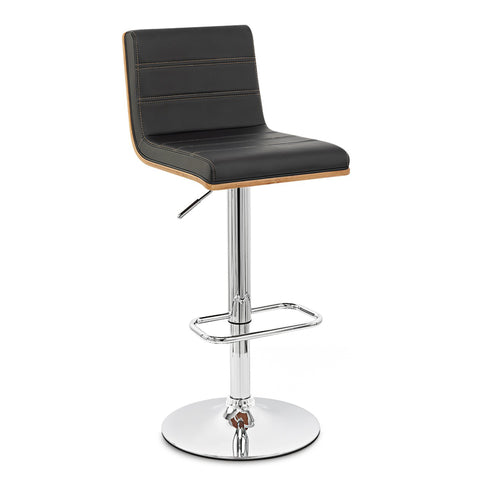 Armen Living LCAUBAWABL Aubrey Barstool Chrome Base finish with Black Faux Leather and Walnut Back