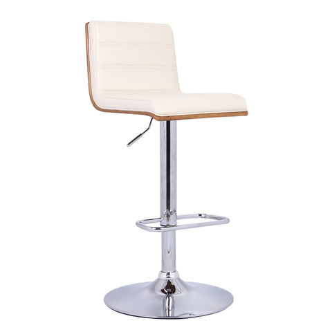 Armen Living LCAUBAWACR Aubrey Barstool Chrome Base finish with Cream Faux Leather and Walnut Back