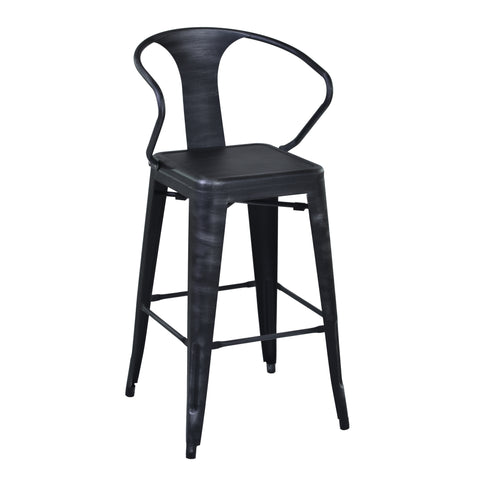 "Armen Living LCBESTSB26 Berkley 26"" Counter Height Barstool in Industrial Grey Steel finish and Seat"