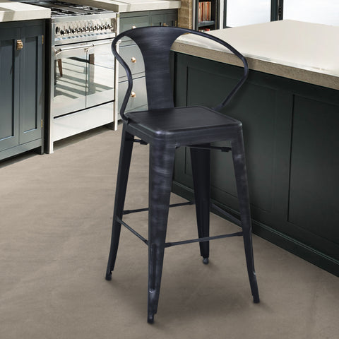 "Armen Living LCBESTSB30 Berkley 30"" Bar Height Barstool in Industrial Grey Steel finish and Seat"