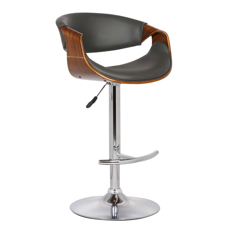 Armen Living LCBUBAWAGRAY Butterfly Adjustable Swivel Barstool in Gray Faux Leather with Chrome Finish and Walnut Wood