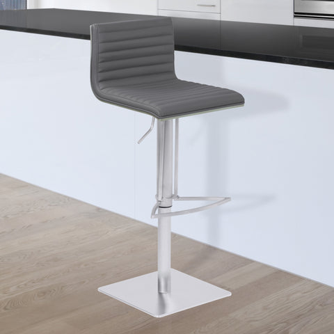Armen Living LCCABAGRBS Cafe Adjustable Metal Barstool in Gray Faux Leather with Brushed Stainless Steel Finish and Gray Walnut Wood Back