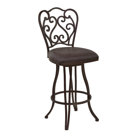 "Armen Living LCCEBAES30 Celeste 30"" Bar Height Metal Swivel Barstool in Bandero Espresso Fabric and Auburn Bay Finish"