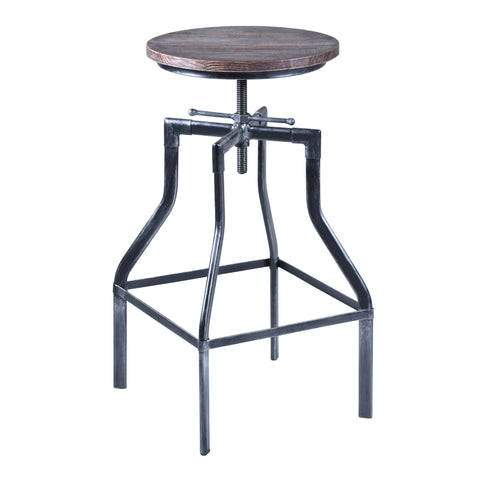 Armen Living LCCOSTSBPI Concord Adjustable Swivel Barstool in Industrial Grey Finish with Ash Pine Wood Seat
