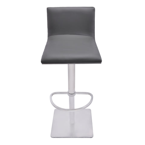 Armen Living LCCRBAGRBS Crystal Adjustable Swivel Barstool in Gray Faux Leather with Brushed Stainless Steel Finish and Gray Walnut Veneer Back