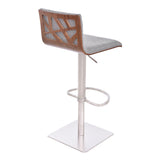 Armen Living LCCRBAGRF Crystal Barstool in Brushed Stainless Steel finish with Grey Fabric and Walnut Back