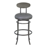"Armen Living LCDABAMFVG30 Davis 30"" Bar Height Metal Swivel Barstool in Vintage Gray Faux Leather with Mineral Finish and Gray Walnut Wood Back"