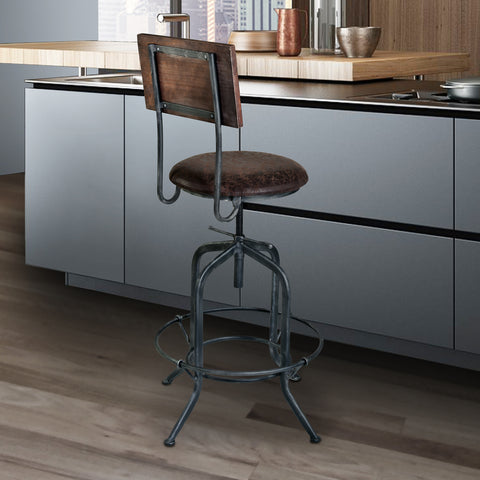 Armen Living LCDASTSBBR Damian Adjustable Barstool Metal in Industrial Grey Finish with Brown Fabric Seat