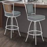 "Armen Living LCDEBAGRBS26 Delhi 26"" Counter Height Metal Barstool in Gray Faux Leather with Brushed Stainless Steel Finish and Walnut Veneer Back"