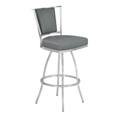 "Armen Living LCDEBAGRBS30 Delhi 30"" Bar Height Metal Barstool in Gray Faux Leather with Brushed Stainless Steel Finish and Walnut Veneer Back"