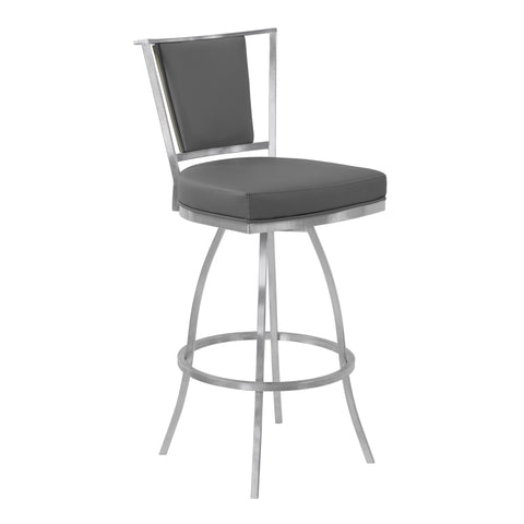"Armen Living LCDEBAGRGR26 Delhi 26"" Counter Height Metal Swivel Barstool in Gray Faux Leather with Brushed Stainless Steel Finish and Gray Walnut Back"