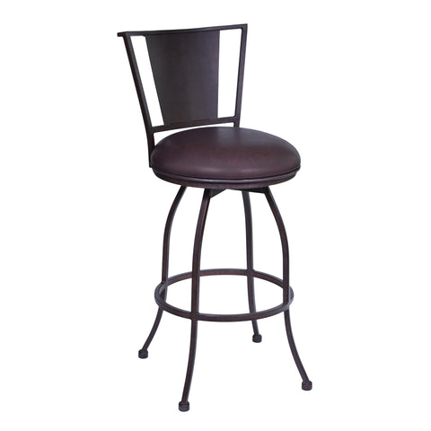 "Armen Living LCDY30BABR Dynasty 30"" Bar Height Barstool in Auburn Bay finish with Brown Faux Leather"