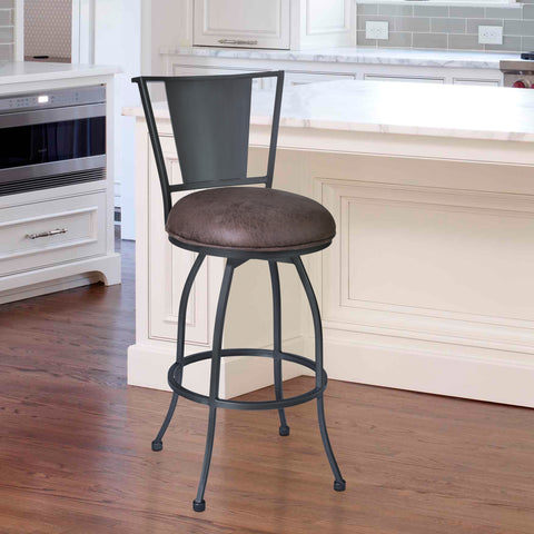 "Armen Living LCDY30BATO Dynasty 30"" Bar Height Barstool in Mineral finish with Bandero Tobacco"