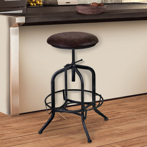 Armen Living LCELSTSBR Elena Adjustable Barstool Metal in Industrial Grey Finish with Brown Fabric Seat