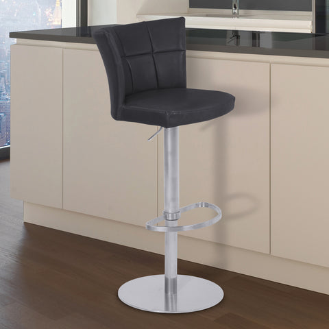 Armen Living LCENBAVBBS Encore Adjustable Metal Barstool in Vintage Black Faux Leather with Brushed Stainless Steel Finish