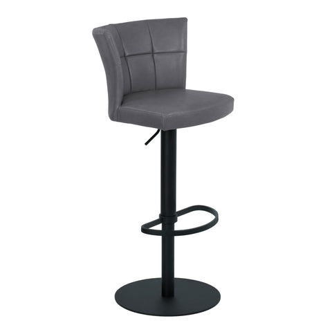 Armen Living LCENBAVGBL Encore Adjustable Metal Barstool in Vintage Gray Faux Leather with Black Powder Coated Finish