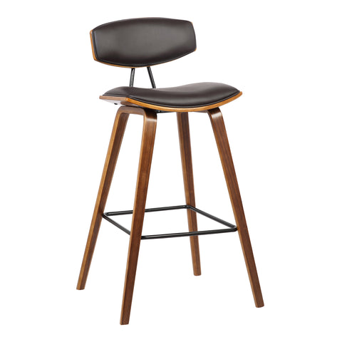 "Armen Living LCFOBAWABR30 Fox 30"" Mid-Century Bar Height Barstool in Brown Faux Leather with Walnut Wood"