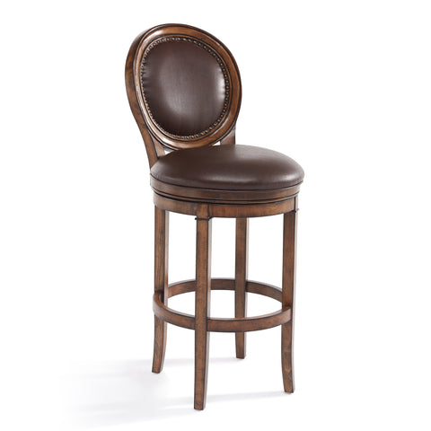 "Armen Living LCGRBAKACH30 Greece 30"" Bar Height Swivel Wood Barstool in Chestnut Finish and Kahlua Faux Leather"
